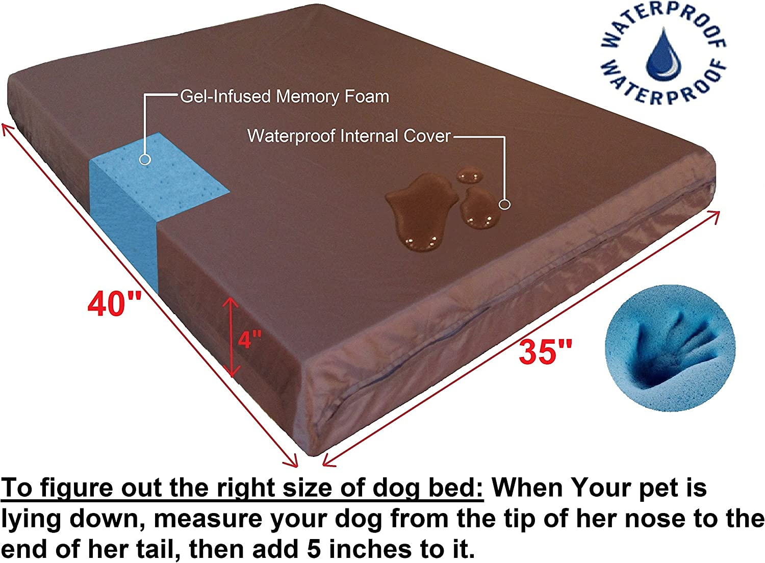 XL 40X35X4 Inch Waterproof Liner and Durable Black Canvas Cover Dogbed4less Extra Large Orthopedic Memory Foam Dog Bed