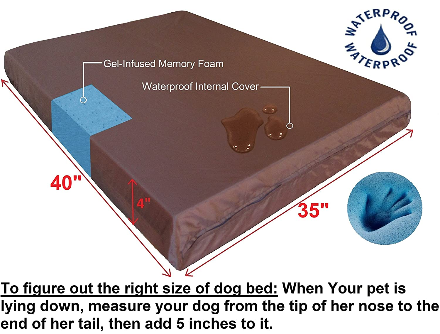 Dogbed4less Orthopedic Gel Infused Cooling Memory Foam Dog Bed for Small, Medium to Large Pet, Waterproof Liner with External Suede Cover and Extra Bonus External Case – 7 Sizes