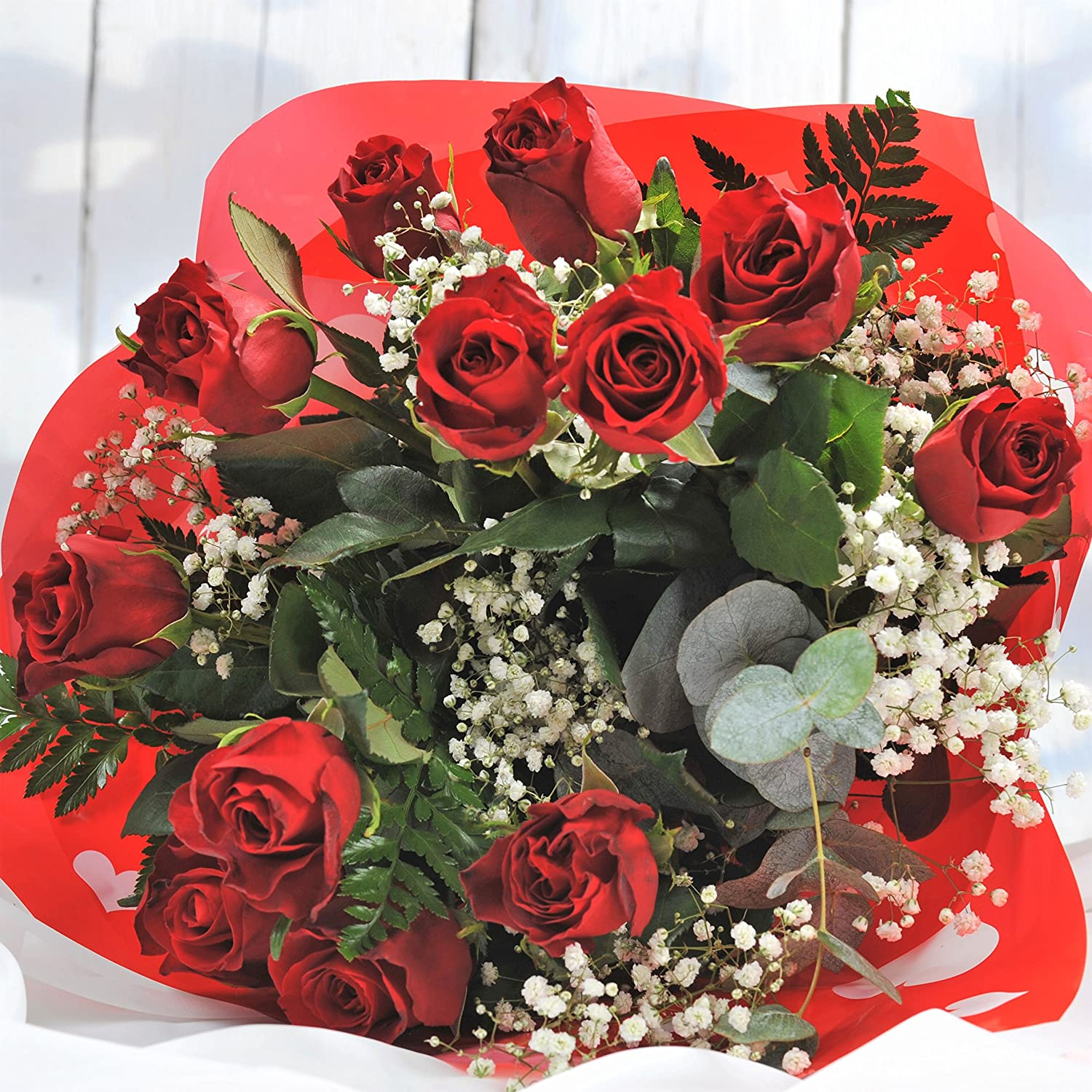 ⤠Romantic Luxury Flowers - Large Red Rose Bouquet Delivered - FREE UK Next Day Delivery in 1hr Window 7 Days a Week - Send a Surprise Bunch of 12 Premium Red Roses Delivered Anywhere in the UK Homeland Florists