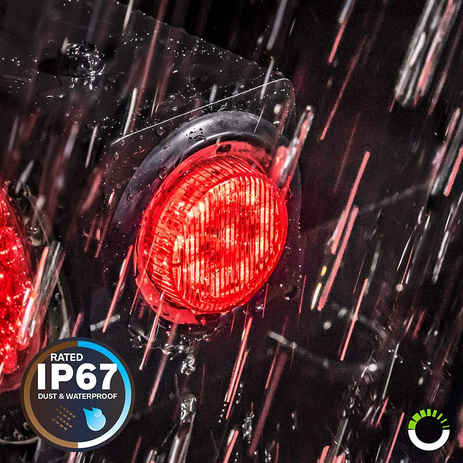 Two in One Reflector Light for Trailers 2 Red and 2 Amber 10 LEDs IP 67 4 PC 2 Round LED Light Side Marker Polycarbonate Reflector Rubber Grommet