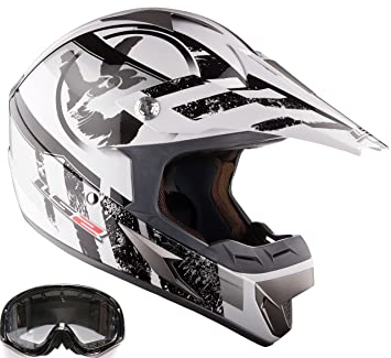 Off Road Casco LS2 MX433 Casco y Gafas Casco de Motocross MX Blanco (L)