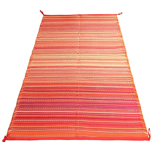 Indoor Outdoor Rug 4×6 ft – Reversible, Easy Care Waterproof Plastic Straw Mat – Ideal Rugs Mats for Patio, RV s, Camping, Picnics. Kimberley – Orange Multi Stripe