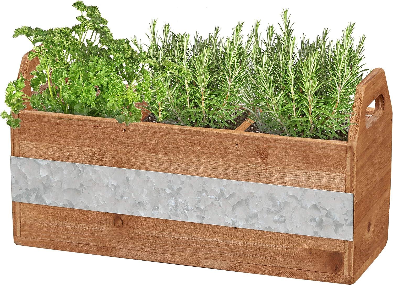 "Barnyard Designs Rustic Wood and Metal 3 Compartment Planter Succulent Herb Plant Pot Indoor Outdoor Plant Holder 12"" x 6"""