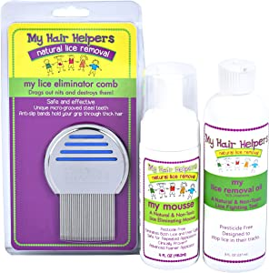 Lice Free Treatment Kit for Kids - Nit Removal Comb, Dimethicone Oil, and Foam Mousse | Natural Non Toxic Way to Remove Bugs and Eggs in Hair I Treats 1-2 Children