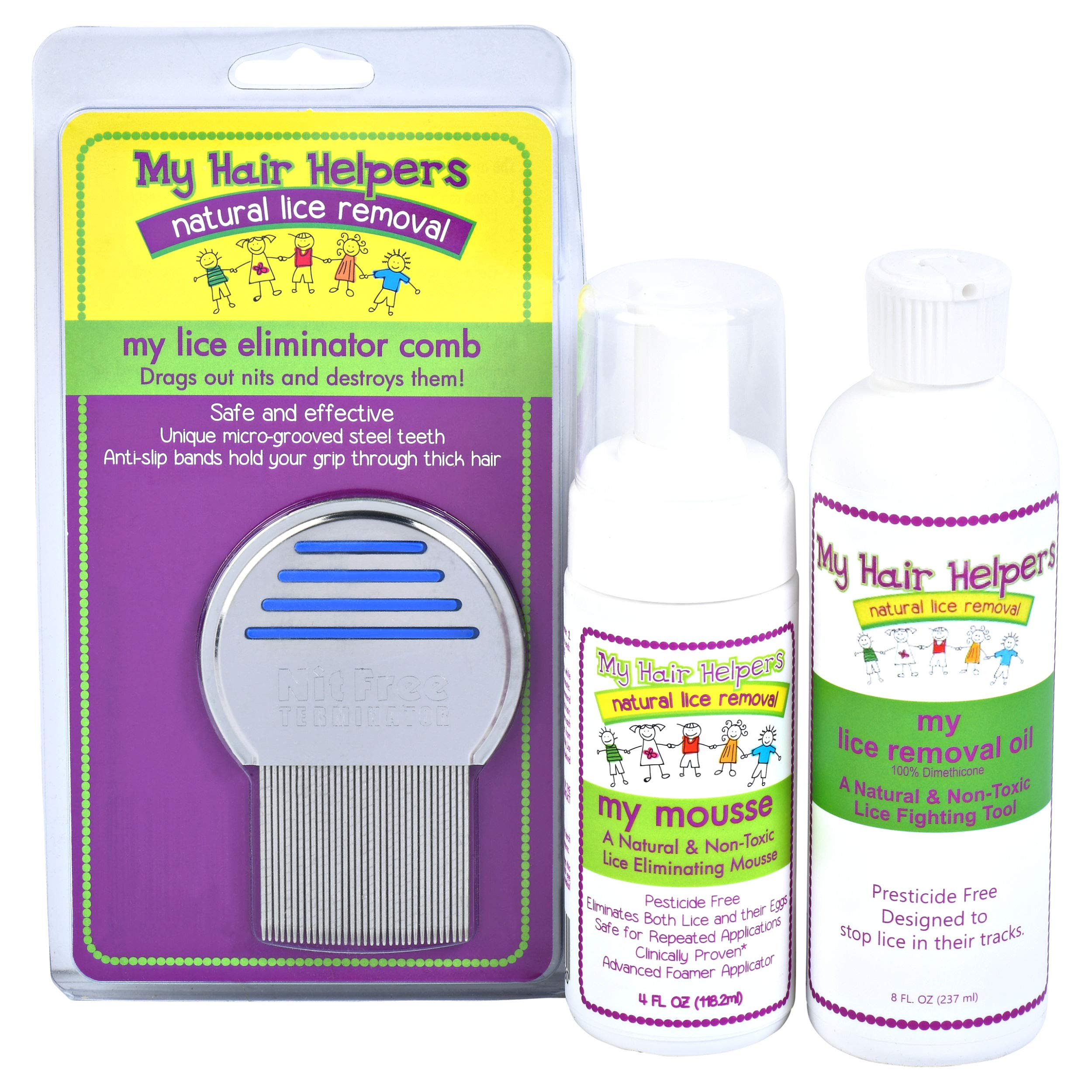 Lice Free Treatment Kit for Kids - Nit Removal Comb, Dimethicone Oil, and Foam Mousse | Natural Pesticide-Free Non Toxic Way to Remove Bugs and Eggs in Hair I Treats 1-2 Children by MY HAIR HELPERS NATURAL LICE REMOVAL