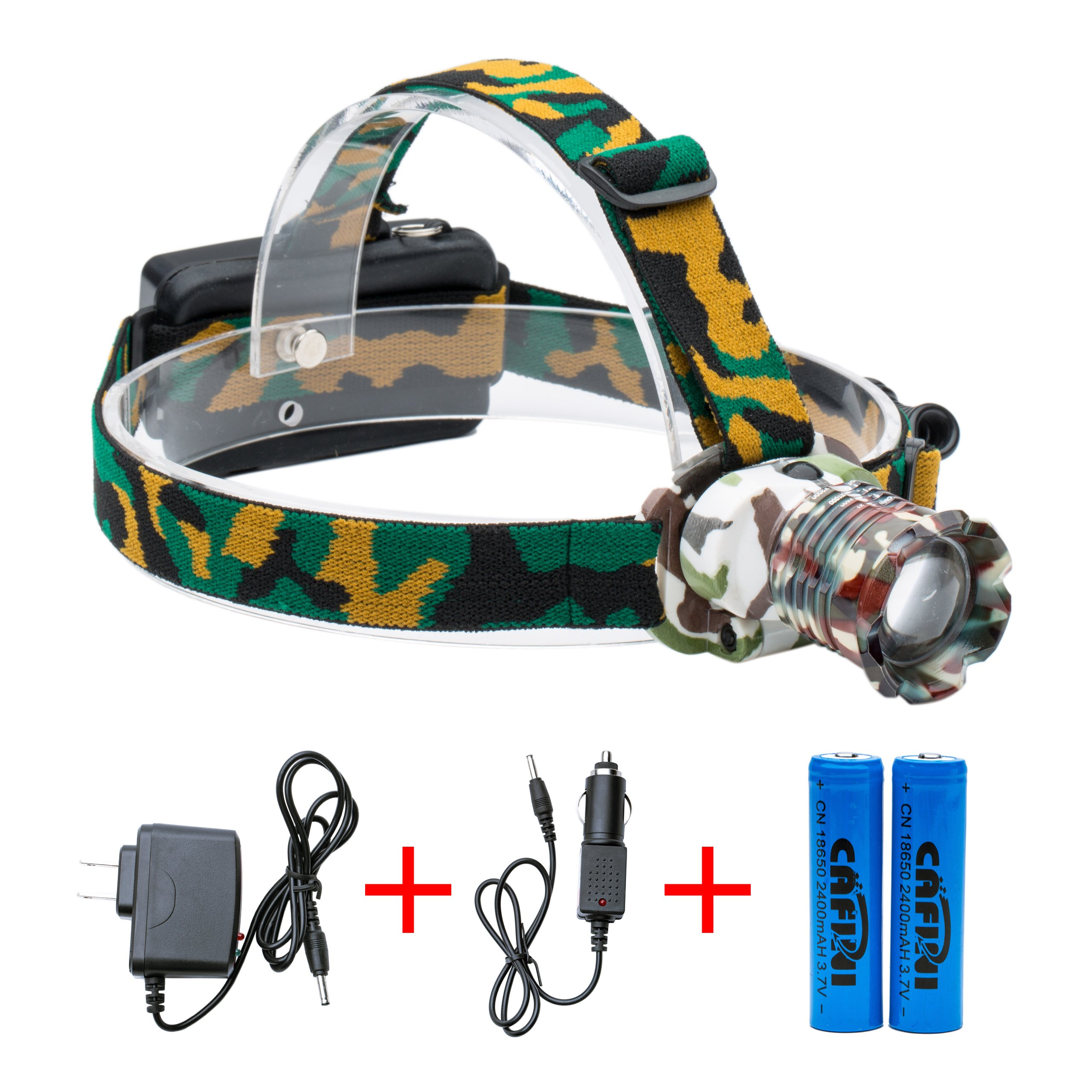 Cafini LED Headlamp Flashlight Kit, 2000-Lumen Super Bright Headlight with Zoomable Head, Red Safety Light,3 Modes, Waterproof Light for Camping, Biking, 2 Rechargeable 18650 Batteries Included