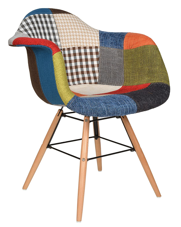 ts-ideen 1x Chaise design Patchwork pâte colorée de bois pour salle à manger Bureau Salon