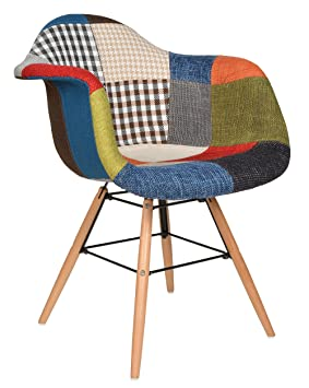 ts ideen 1x chaise design patchwork pte colore de bois pour salle manger bureau - Chaise Coloree