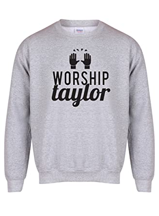 b96d6253 Kelham Print Unisex Slogan Sweater Jumper Worship Taylor Grey Small with  Black