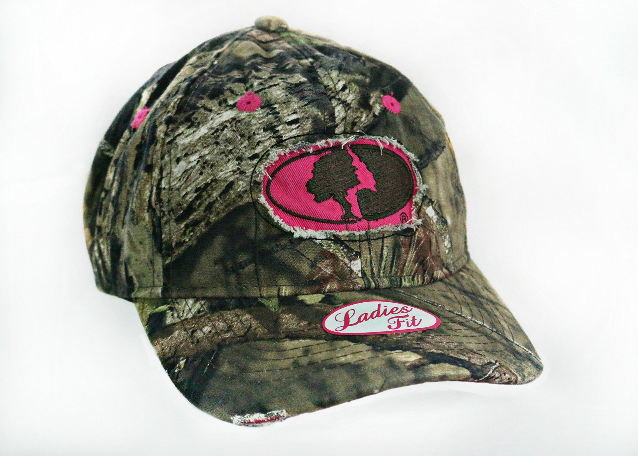 Womens Pink Camo Cap with Hot pink Trim and Hot Pink Mossy Oak Camo Logo