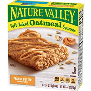 Nature Valley Soft Baked Oatmeal Squares, Peanut Butter, 6 Bars, 1.24 oz (Pack of 8)