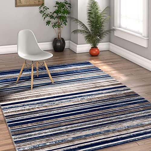 Well Woven Riviera Stripe Blue Beige Vintage Modern Geometric Abstract Shabby Chic Area Rug 8 x 10 7 10 x 9 10 Neutral Thick Soft Plush Shed Free