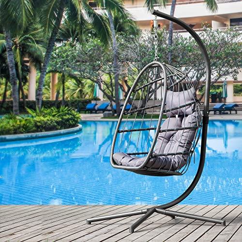 Egg Chair with Stand in Door Outdoor Swing Chair Patio Wicker Hanging Egg Chair with UV Resistant Grey Cushion Hanging Chair with Aluminum Frame 350-pound Weight Capacity Grey