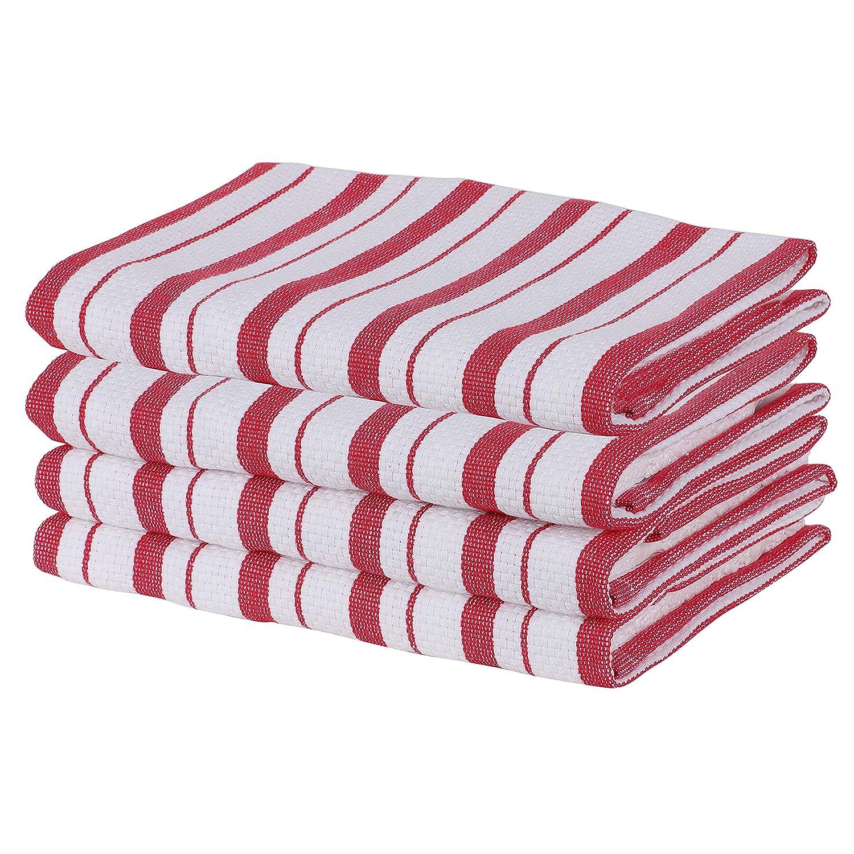 Paquete de 4-100/% algod/ón raya estampada con lazo para colgar Toallas de cocina SweetNeedle rojo grado profesional altamente absorbente tejido de canasta 50x70 cm servicio pesado