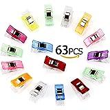 Cucito Clip, Aodoor 63pcs clip plastica cucito Crafting Trapunta Associazione Morsetti Mestiere (9 colori)