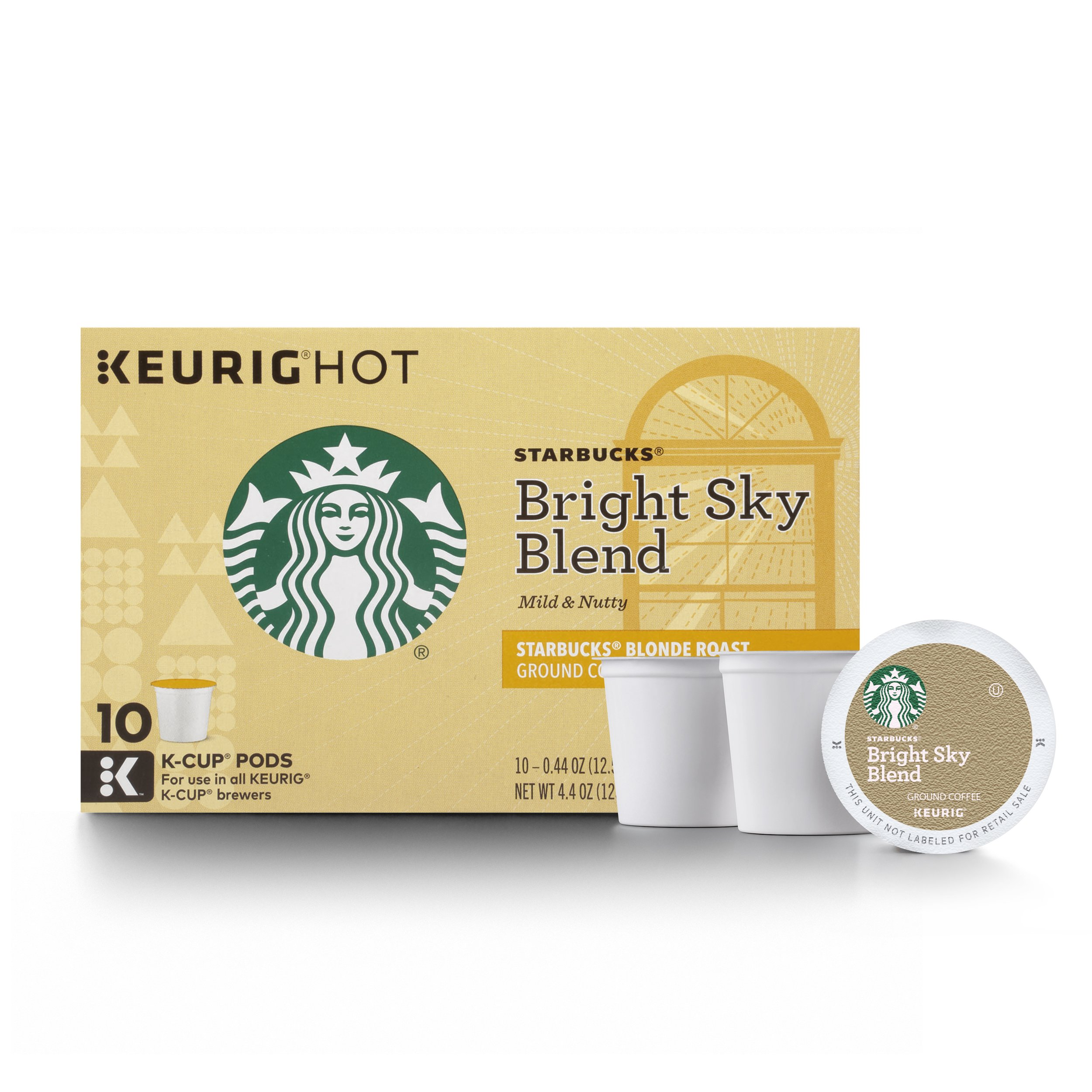 Starbucks Bright Sky Blend Blonde Light Roast Single Cup Coffee for Keurig Brewers, 6 Boxes of 10 (60 Total K-Cup pods)