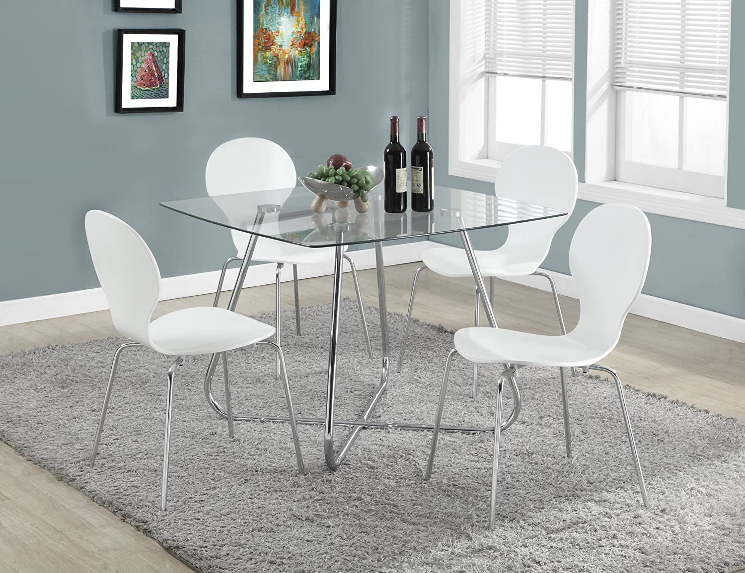 Monarch Specialties I 1070 Chrome Metal Tempered Glass Dining Table 8mm 40 Amazonca Home Kitchen