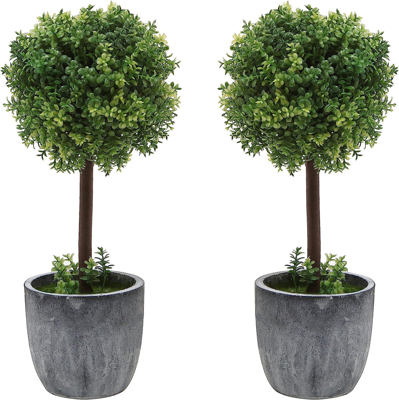 Amazon Com Mygift Set Of 2 Small Realistic Artificial Boxwood