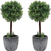Juego de 2 pequeños árboles de topia artificial de madera de boj / plantas de mesa de imitación con ollas de cerámica…