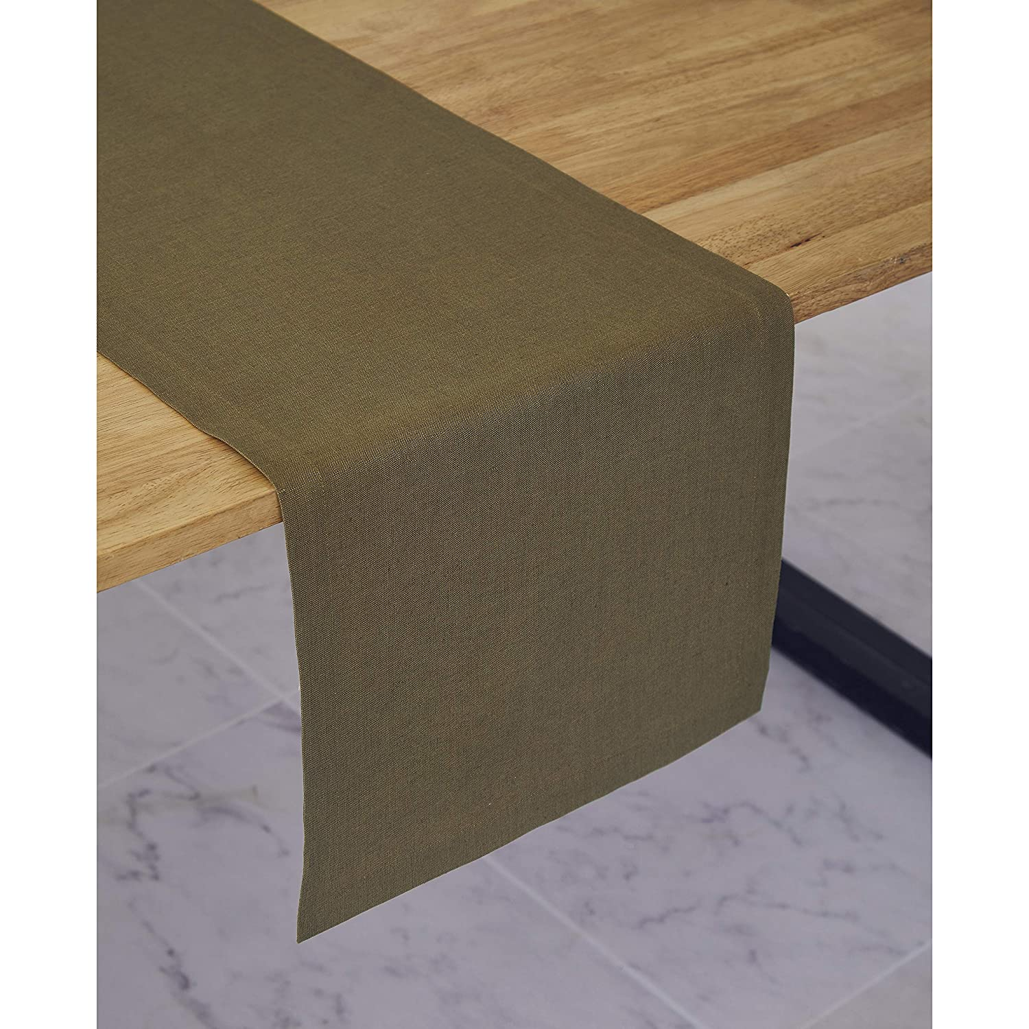 1bfff1300c461 Solino Home Medium Weight Linen Table Runner - 100% Pure Linen - 14 x 90  Inch, Olive