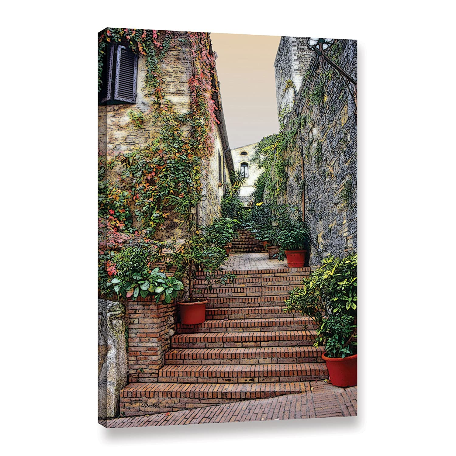 16 x 24 ArtWall Linda Parkers San Gimignano-Potted Steps Gallery Wrapped Canvas