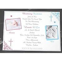 25, 50, 75 o 100 x personalizzato Twins/ragazze/ragazzi/o Girls & Boys battesimo/Battesimo Inviti Design (A), con o senza fotografia & Free Buste
