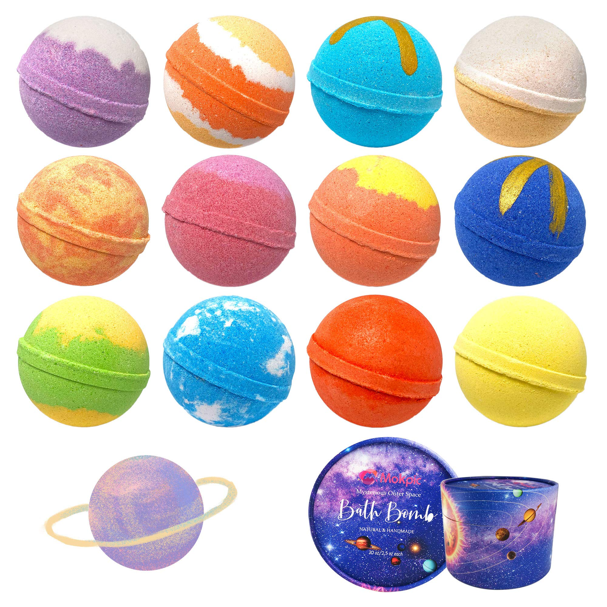 MOKPIC Bath Bombs 12 Pack Solar System Planets Bath Bomb Gift Set