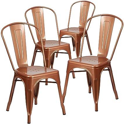 Amazon Flash Furniture 4 Pk Copper Metal Indoor Outdoor