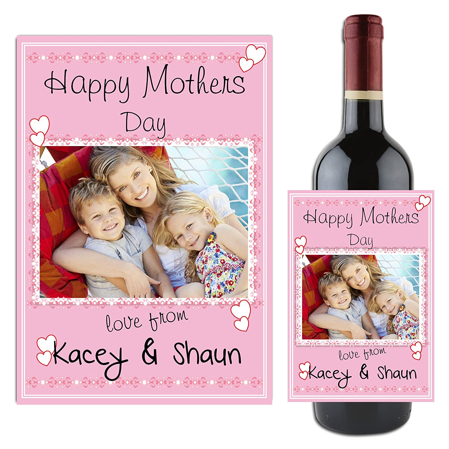 Great Gift Idea Personalised Mothers Day Wine Champagne Bottle Label Sticker