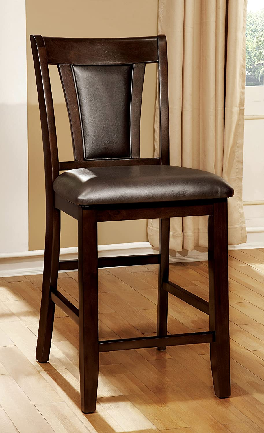 Furniture of America Dalcroze Modern Pub Dining Chair, Espresso Leatherette, Set of 2