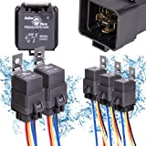 5 Pack OLS 40/30 Amp Waterproof Relay Switch Harness Set - 12V DC 5-Pin SPDT Automotive Relays 12 AWG Hot Wires