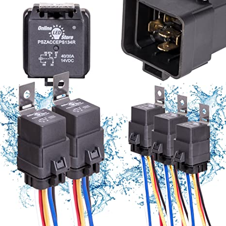 ONLINE LED STORE 5 Pack 40/30 Amp Waterproof Relay Switch Harness Set   12V
