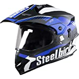 Steelbird Off Road Racing SBH-42 Helmet with Plain Visor (Matt Black and Blue, L)