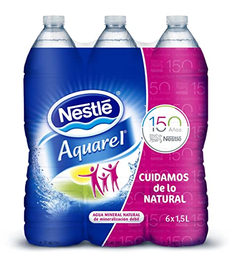 Nestlé Aquarel Agua Mineral Natural - Pack de 6 x 1,5 l - Total