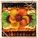 Milliard Dried Fruit Gift Platter Basket Arrangement Nut Free on Wood Tray for Occasions including New Years, Valentines…