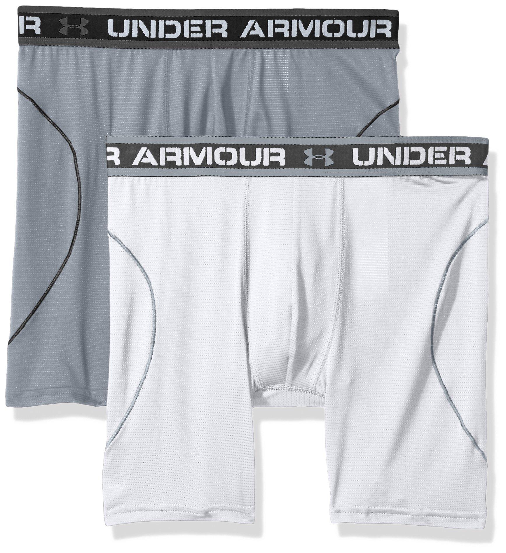 Under Armour Men's Iso-Chill Mesh 6'' Boxerjock – 2-Pack, White (100)/Steel, Large