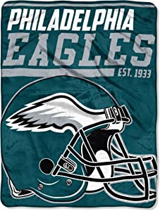 The Northwest Company 1 Pc, Philadelphia Eagles Blanket 46x60 Raschel 40 Yard Dash Design Rolled, 100% Polyester, Big Team Logo & Graphic Background, Decorative Binding Around Edges, Machine Washable