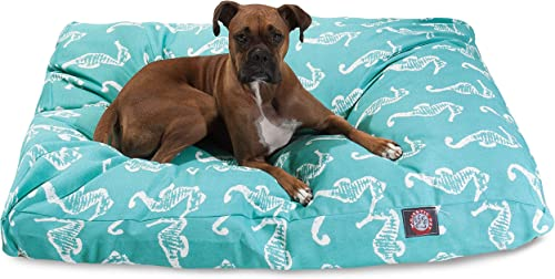 Teal Sea Horse Extra Large Rectangle Indoor Outdoor Pet Dog Bed With Removable Washable Cover By Majestic Pet Products