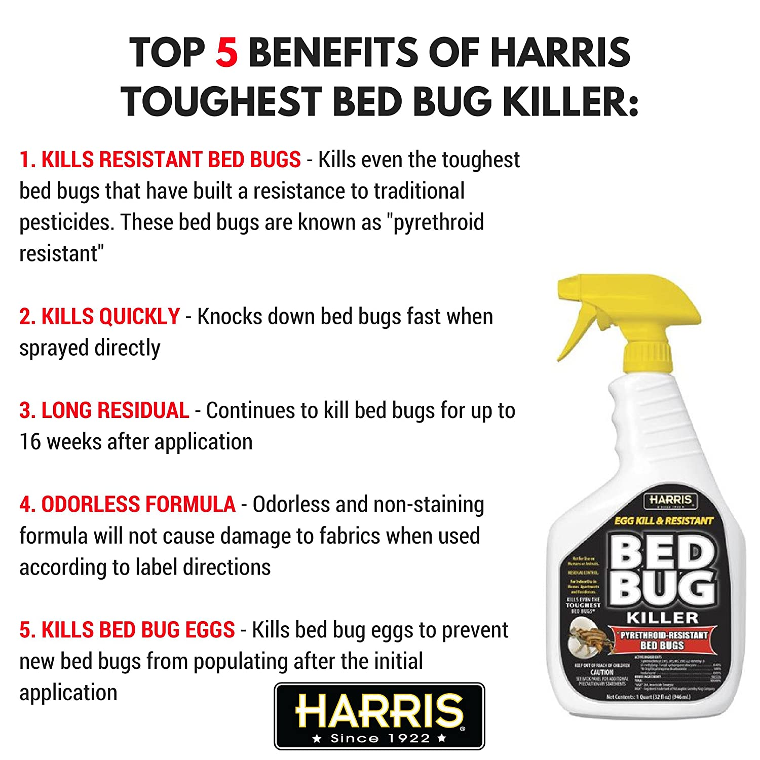 Baby bed bugs in bathroom - Amazon Com Harris Toughest Bed Bug Killer Gallon Spray Patio Lawn Garden