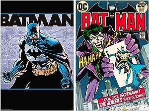 "DC Comics Batman Poster Decal Room Decor Bundle Set ~ 2 Pack Peel & Stick Batman Decal Poster (24"" X 36"") Party Decorations Decor (Joker Batman Room Decorations)"