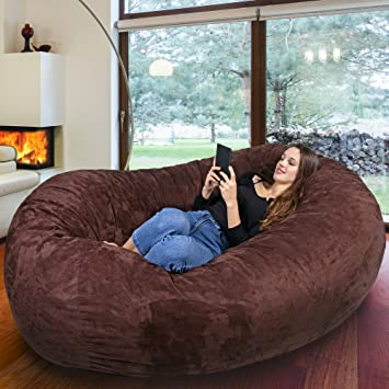 b048eb95f3 Gigantic Bean Bag Chair in Espresso with Memory Foam Filling and Machine  Washable Cover- Comfortable