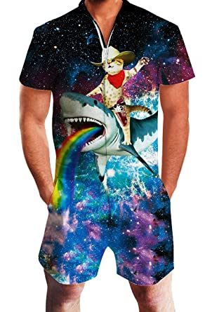 444420295b91 Mens Novelty Short Sleeve Rompers Galaxy Captain Cat Riding Shark One Piece  Slim Fit Outfits 80S
