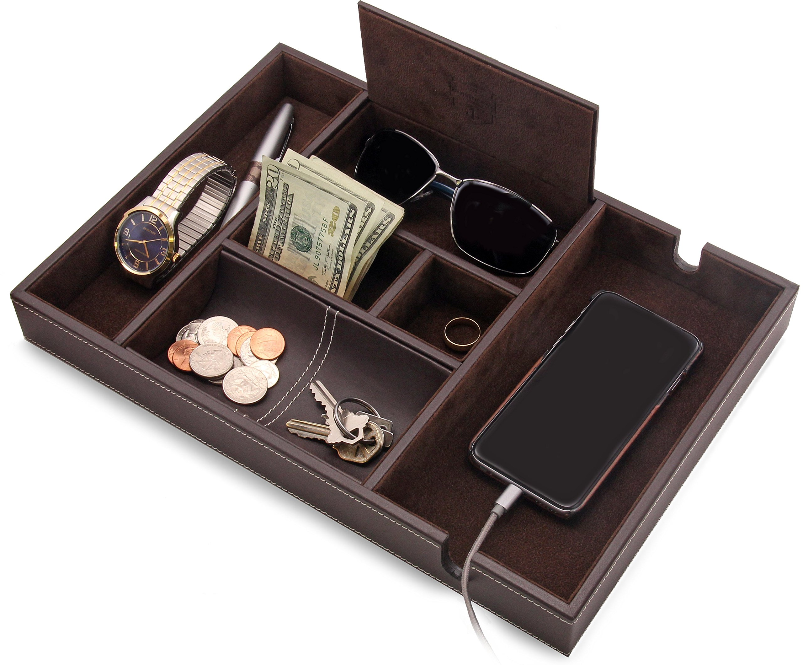 HOUNDSBAY ''Victory Valet Tray for Men with Large Smartphone Charging Station (Dark Brown)