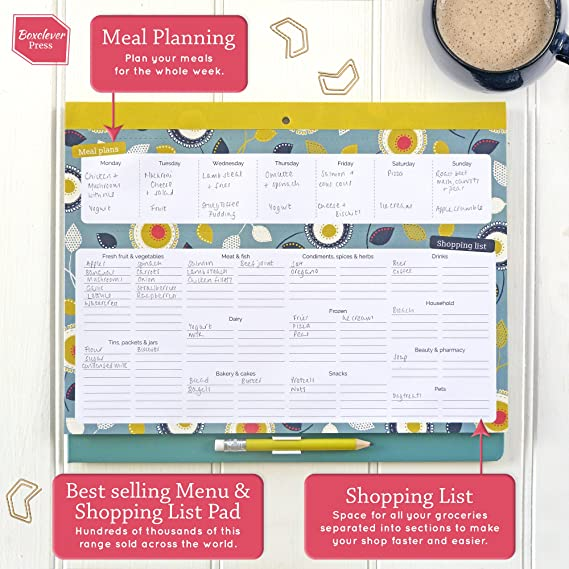 boxclever press big meal planner magnetic refrigerator grocery