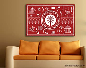Tamatina Warli Art Canvas Painting A Day In A Village Tribal Art Traditional Canvas Paintings Paintings