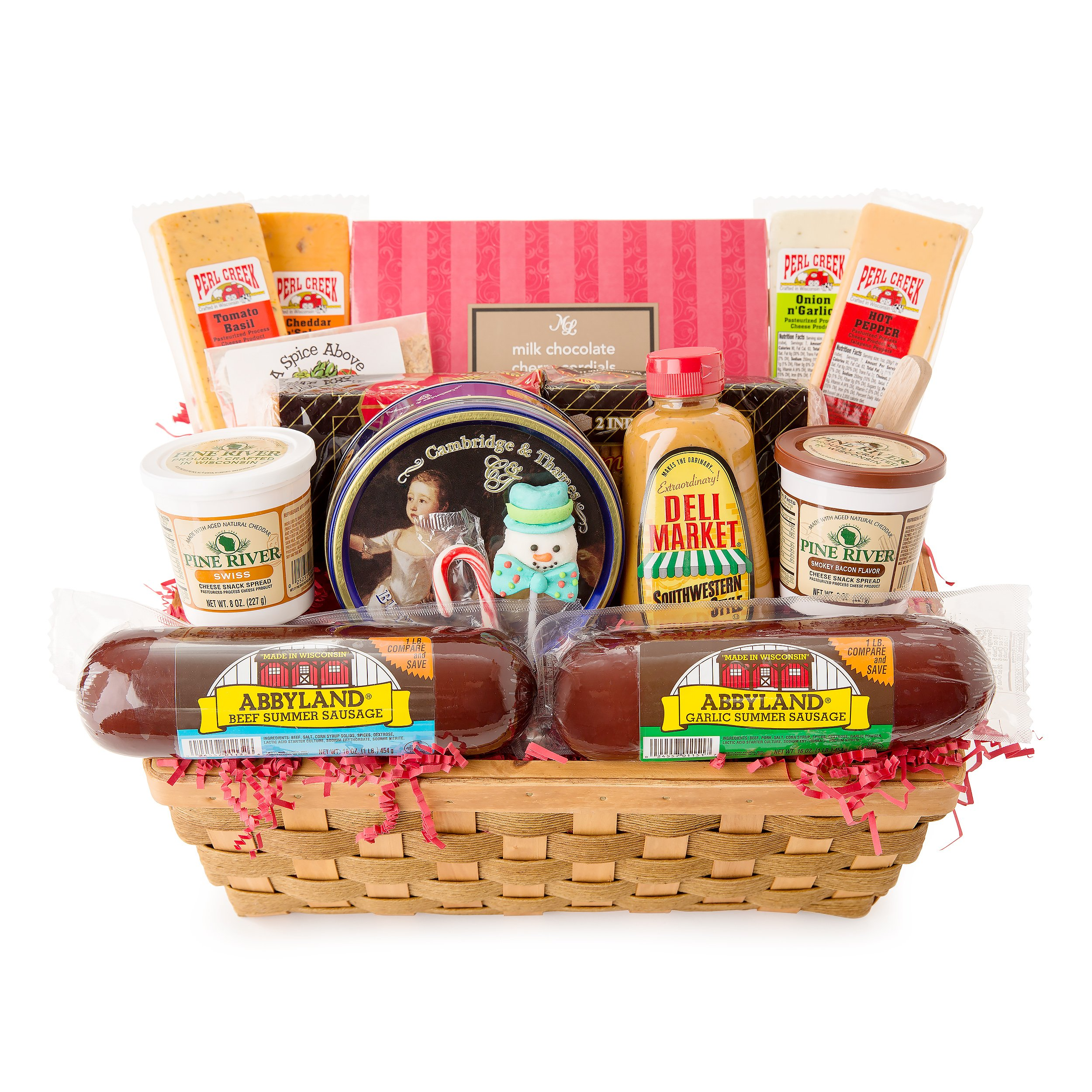 14-Piece Picnic Party Gourmet Summer Sausage and Cheese Gift Basket-Large