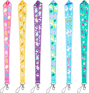 WATINC 6 Pack Easter Lanyards for ID Name Tag Badge Holders, Flat Hall Pass Lanyards for Students with Stainless Swivel Hook, Neck Office Cruise Lanyard Accessories, Easter Egg Fillers Gifts for Kids