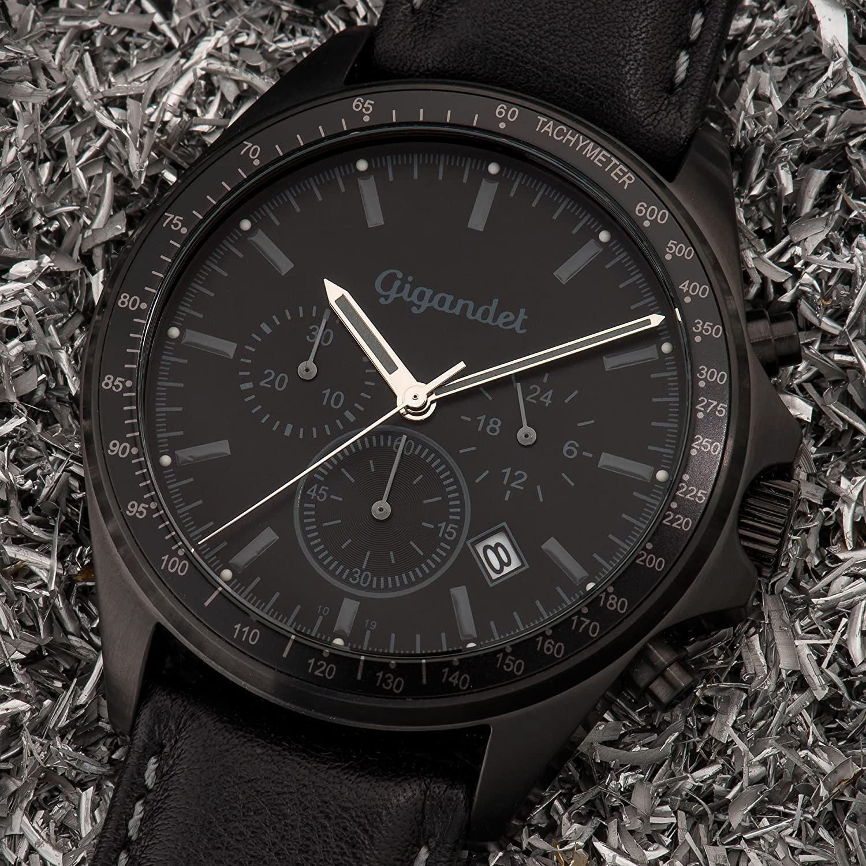 Gigandet Men s Quartz Watch Volante Chronograph Analog Leather Strap Gray Black G3-005