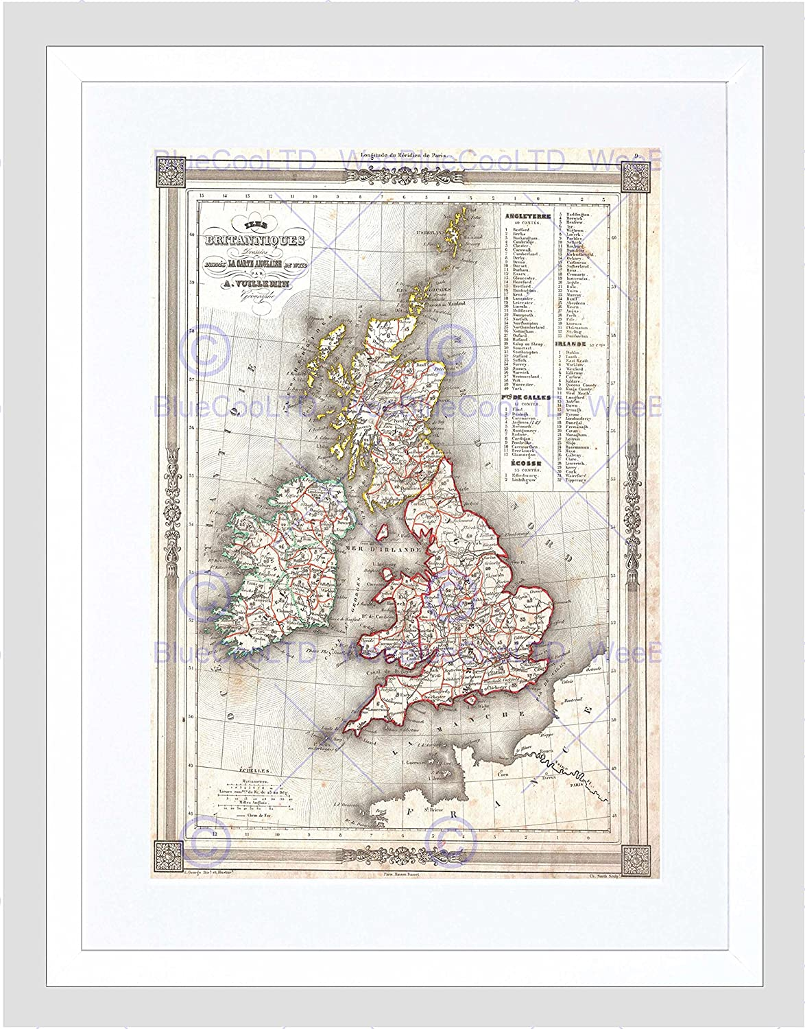 Attractive 1852 Map British Isles By Vuillemin Framed Art Print 12x16 Inch