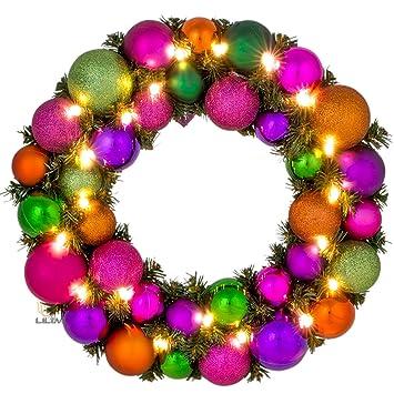 Adventskranz Aus Christbaumkugeln.Adventskranz Weihnachtskranz Mit Kugeln O 39 Cm Multi Color Led Beleuchtung Batteriefach Lilimo